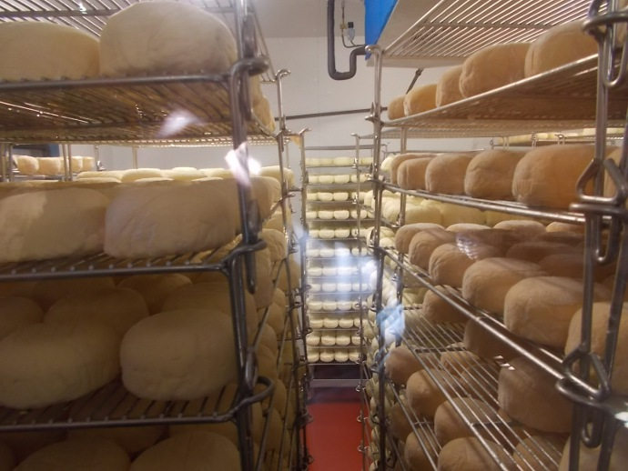 Photo of room where they store Red Hawk Cheese