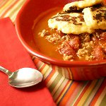 Turkey Chipotle Chili with Pepper Jack Cheese Corn Cake Toppers